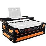 ProX Flight Case for Pioneer DJ DDJ-SX/RX & Denon MCX7000 With Sliding Laptop Shelf, LED Lights and Wheels - Black on Orange Design - XS-DDJSX WLTOB