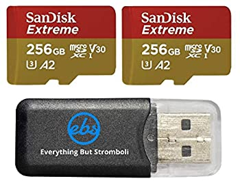 SanDisk Extreme  UHS-1 U3 / V30  A2 256GB MicroSD  2 Pack  Memory Card for GoPro Hero 9 Black Action Cam Hero9 SDXC  SDSQXA1-256G-GN6MN  Bundle with  1  Everything But Stromboli Micro SD Card Reader