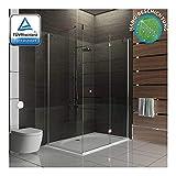 Alpenberger Antikalk Eck- Duschkabine 90x120x195 cm   Eckdusche mit einer Duschtür und zwei feststehenden Seitenteilen aus 6 mm starkem Einscheibensicherheitsglas (ESG)   Easy-Clean Nanoversiegelung