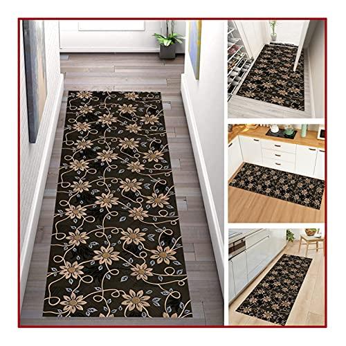 QIANDA Alfombra de pasillo de pasillo de pelo fino, diseño floral, parte inferior antideslizante, poliéster suave, lavable para pasillo, balcón, tamaños personalizados (color: A, tamaño: 1,4 x 3 m)