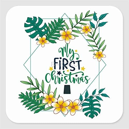 My First Christmas Label Stickers voor envelop, tas, kleine zakelijke benodigdheden, set van 50 vierkante vinyl…