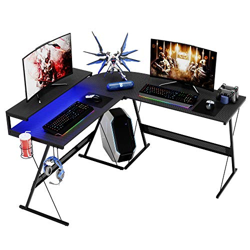Modern L Shaped Gaming Desk with RGB LED Lights,Domy Home Computer Corner Desk PC Laptop Writing Study Workstation, Space-Saving Large Stand Desk for Home Office, Easy to Assemble Carbon Fiber