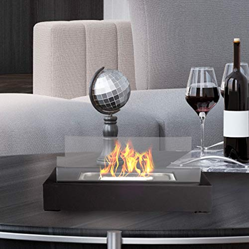 Bio Ethanol Ventless Tabletop Fireplace – Real Smokeless Flame - Clean Burning Indoor/Outdoor Portable Heat with 360 View by Lavish Home