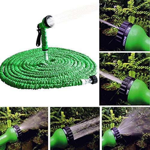 FENSHIX 10-30m telescópica Extensible Tubo Flexible Magic Garden riego Manguera con Arma de Aerosol Conjunto Valioso (Color : Green)