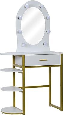 cossepair GT4-XJ Special-Shaped Mirror Single Drawer Three-Layer Frame-Steel Frame Dresser White