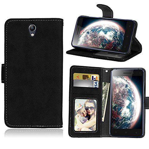 Janeqi for Lenovo Vibe S1(5.0') Case Cover - Vintage frosted flip leather case anti-fall card bag business Case Cover - H2/black