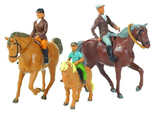 TOMY- Lot De 3 Chevaux avec Cavaliers pour Adultes Modèle à l'Echelle 1/32 Réplique Adaptée aux Enfants de 3 Ans+, Multicolore, 152157