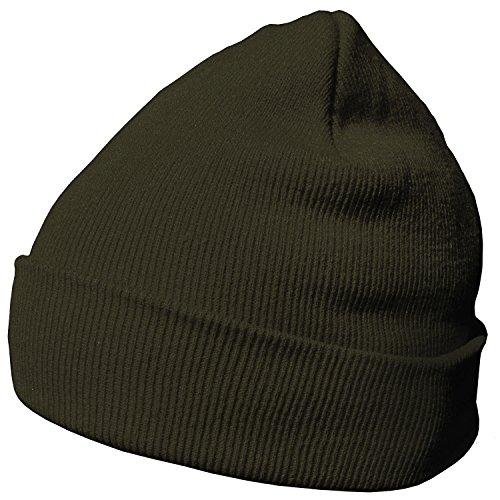 DonDon Wintermütze Mütze warm klassisches Design modern und weich oliv-braun