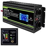 NOVOPAL spannungswandler 12v 230v Reiner Sinus 2000W Kfz wechselrichter mit LCD-Display und USB-Anschluss + 2AC-Steckdosen + Fernbedienung + Batteriekabel und Handbuch