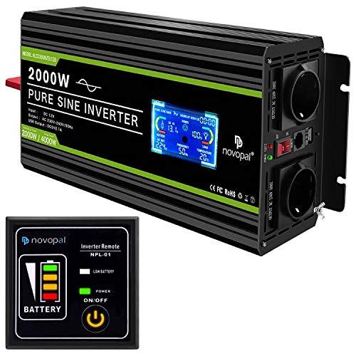 NOVOPAL Convertisseur Pur Sinus 2000W- transformateur 12V 220V 230V avec télécommande et Dual AC Prises et écran LCD,pour Voiture, Caravane, Bateau, Camping, Voyage