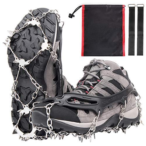 Karvipark Steigeisen mit 19 Zähnen, Crampons mit Wahre Edelstahl Spikes und langlebiges Silikon, Schuhkrallen Anti Rutsch Schuhspikes für Winter Walking Wandern Bergsteigen