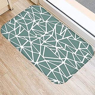 OPLJ Green Geometric Pattern Anti-Slip Suede Carpet Door Mat Doormat Outdoor Kitchen Living Room Floor Mat Rug A3 40x60cm