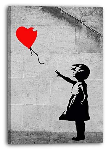 Leinwand (40x60cm): Banksy - Balloon Girl Mädchen mit Luftballon hochkant Graff
