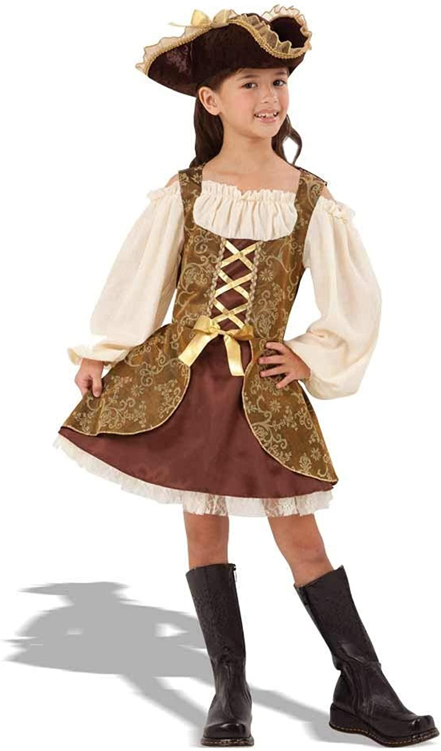 Bristol Novelty CC413 golden Pirate Dress, MultiColour, Large