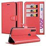 Cadorabo Hülle für Motorola ONE Action in Karmin ROT - Handyhülle mit Magnetverschluss, Standfunktion & Kartenfach - Hülle Cover Schutzhülle Etui Tasche Book Klapp Style