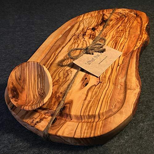 What the Art!® Olive Wood «Rustic» Gr. XXL | Olivenholz Schneidebrett inkl. Dip-Schälchen + Geschenk | ca. 43-45 x 20-26 x 2 cm | Käsebrett - Hackbrett - Tranchierbrett - Servierbrett