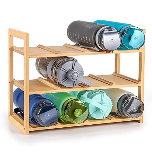 Ackitry, portabottiglie in bambù a 3 strati, organizer per bottiglie d'acqua da cucina, piano da tavolo, dispensa, ogni scaffale contiene 4 contenitori (autoassemblabile)
