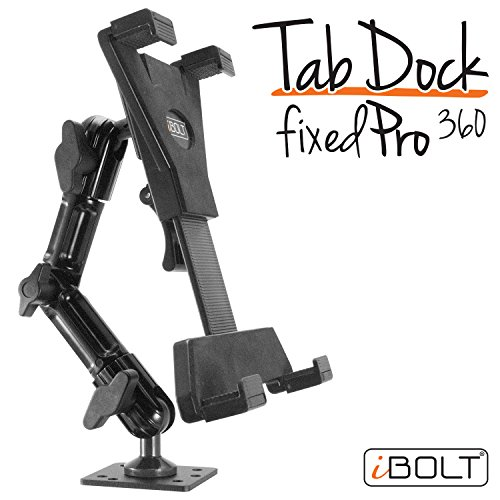 iBOLT TabDock FixedPro 360 -Heavy Duty Metal 8' Multi-Angle Drill Base Mount for All 7' - 10' Tablets (iPad, Nexus, Samsung Tab) for Desks, Tables, Countertops : Great for Homes, Businesses, etc.