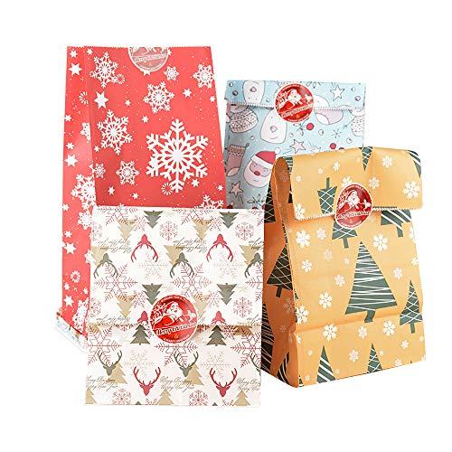 VINFUTUR 24pcs Bolsas Regalo Navidad Papel Bolsas Caramelos Galletas de 4 Diseños Navideños+24pcs Pegatinas Selladas para Bolsas Chuches Cumpleaños Dulce Comida Navidad