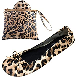 After Party Pumps Leopard Print Size UK 5-6 Ladies Roll up Shoes Fold up Pumps Foldable with Carrier Pouch