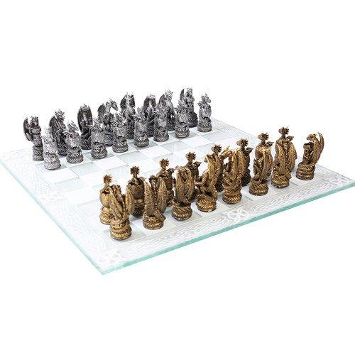 Dragon Kingdom Chess Set With Glass Board Set