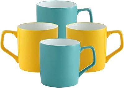 Clay Craft Ceramic Coffee Mugs - Set of 4, Multicolor, 230ml
