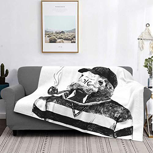 Personalizado Lana Manta,Boceto de Arte de una morsa con una Pipa y una Gorra Vestida con Estilo Hipster,Sala/Cuarto/Sofá Cama Franela Edredón Manta de Tiro,60' X 50'
