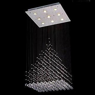Saint Mossi Modern K9 Crystal Raindrop Chandelier Lighting Flush mount LED Ceiling Light Fixture Pendant Lamp for Dining Room Bathroom Bedroom Livingroom 9 GU10 Bulbs Required H47 X W24 X L24