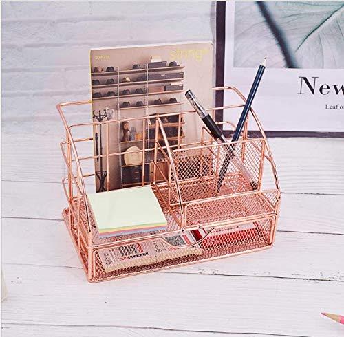 Brynnl Organizador de escritorio con cajón grande rosa Organizador de oficina Escritorio Tidy Soporte multifuncional para suministros de oficina para escritorio de oficina
