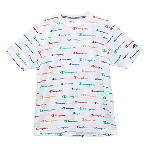 (チャンピオン)Champion C VAPOR COOL 半袖 Tシャツ スポーツウェア 総柄ロゴ 吸汗速乾 抗(WH-ホワイト、L)