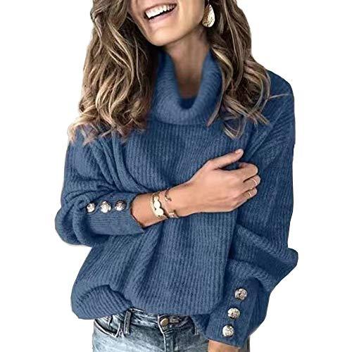 Suéter de punto suelto para mujer, con manga de linterna, cuello de tortuga, color sólido, con botones, Azul, M