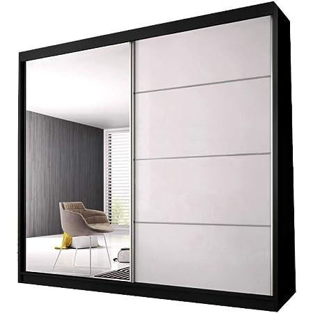 E-MEUBLES Armoire de Chambre avec 2 Portes coulissantes | Penderie (Tringle) avec étagères (LxHxP): 183x218x61 K006 (Noir/Blanc Semi- Brillant)