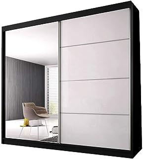 E-MEUBLES Armoire de Chambre avec 2 Portes coulissantes | Penderie (Tringle) avec étagères (LxHxP): 183x218x61 K006 (Noir/...