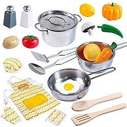 JOYIN Küchenspielzeug Küche Pretend Spielzeug mit Edelstahl Kochgeschirr Töpfe und Pfannen Set, Schürze, Kochmütze und Lebensmittel für Kinder, Mädchen und Jungen, Kinderküche