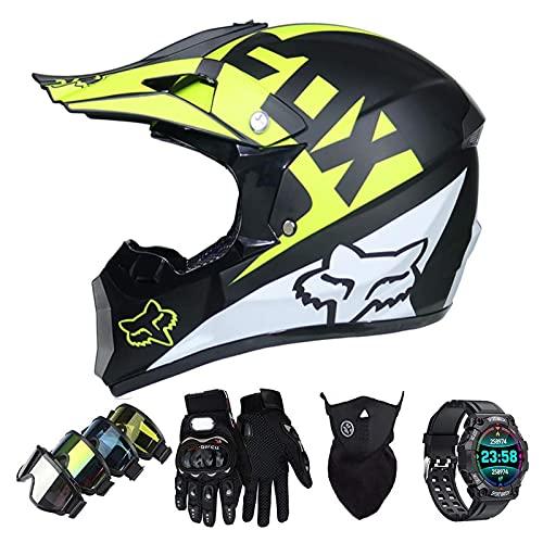 Casco Motocross Niño Set con Diseño FOX, Adulto y Juventud Integral Homologado Moto Cross Casco para Downhill ATV Enduro Off Road (Gafas+Máscara+Guantes+Reloj Inteligente) LXY-16