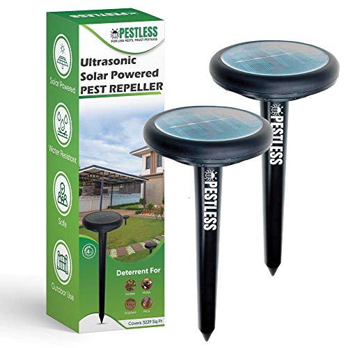 Pestless Solar-Powered Pest Repeller - Deterrent for Moles, Gophers, Snakes, Mice - Safe, Humane, Ultrasonic Outdoor Rodent Repellent for Garden, Lawn, Yard (2)
