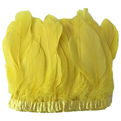 MELADY 2 Yards Fashion Dress Sewing Crafts Costumes Decoration Goose Feathers Trims Fringe with Satin Ribbon Tape (Yellow)