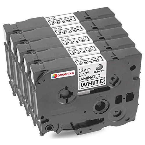 Madabcom 5x Pack compatible for Brother TZE 231 tz 231 tz231 tze231 12mm Laminated tze-231 12mm tz tape 12mm 0.47 Label Black on White 12mm wide x 8 m Length 1/2 inch tze-231pk p-touch label tape