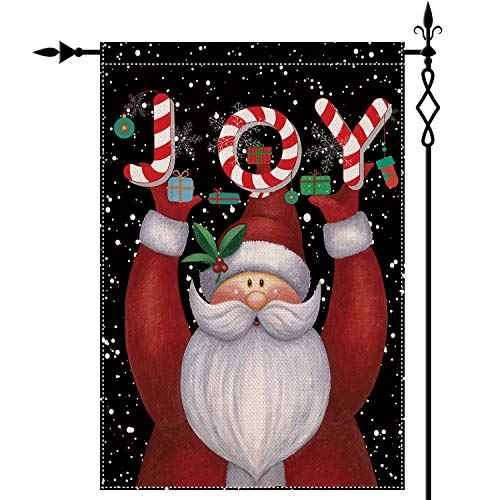 QOR Balance Christmas Garden Flag,Xmas Santa Claus Flag Outdoor,Double Sided Winter Yard Decorations Holiday Banners Indoor Outdoo 12.5 x 18 inch