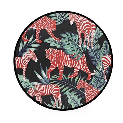 Alfombra redonda de 3 pies – Zebra Leopard Leaves Jungle Round Carpet lavable para cocina, dormitorio, sala de estar