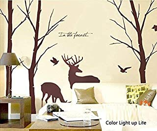 Cukudy Deer Wall Decals Nature Brown Wall Decals Birch Tree Nursery Wall Stickers (Trees are 6 feet tall)