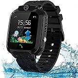 themoemoe Kids Smartwatch Phone, Kids Waterproof Smart Watch Phone GPS Tracker with SOS Two Way Call (Black)