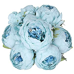 JyiHope Artificial Peony Silk Flowers Fake Peonies Vintage Bouquet Home Table Centerpieces Wedding Decoration (Spring Blue)