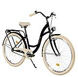Milord Bikes Bicicleta de Confort Negro y Crema de 1 Velocidad y 28 Pulgadas con Soporte Trasero,...