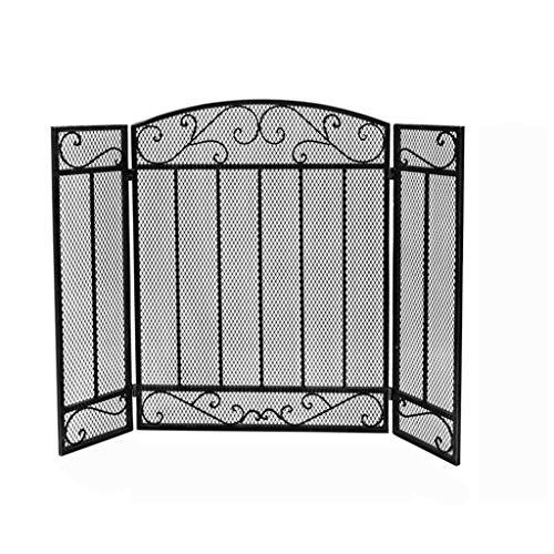 hkwshop Salvachispas Plegable 3 Pantalla del Panel de Altas Prestaciones Chimenea Seguridad Chimenea Valla Spark Protector de la Cubierta del Hierro Protector de Chimenea (Color : Black)