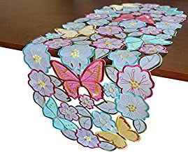 GRANDDECO Flowery Butterfly Table Runner,Floral Daisy Cutwork Embroidered Dresser Scarf for Home Kitchen Dining Spring Holiday Tabletop Decoration,Runner 13×34, Butterfly
