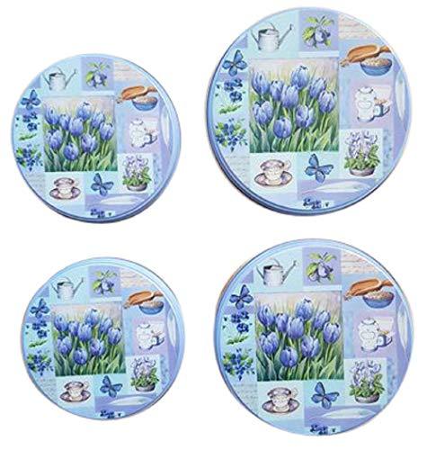 Trendstern Herdabdeckplatten 4'er Set Küchen Herd Abdeckplatten Blumen Vögel Nostalgie (Blau)