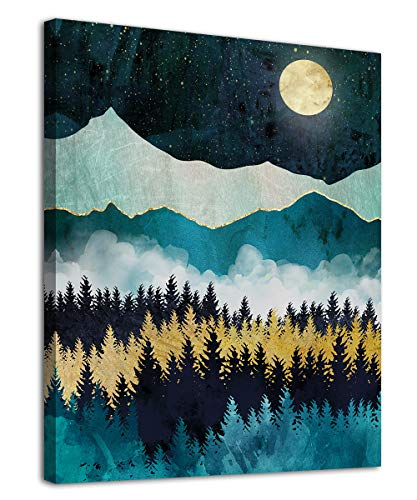 """Mountain Forest Wall Art Moon Night Nature Canvas Artwork Modern Nordic Landscape Canvas Pictures for Bathroom Bedroom Living Room Kitchen Office Home Decoration Framed Ready to Hang 12"""" x 16"""""""