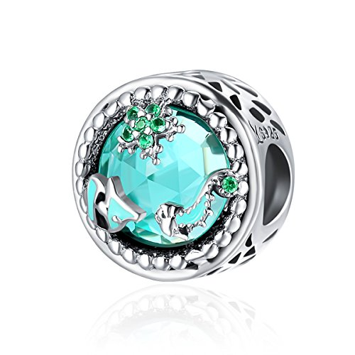NINGAN Charms 925 Sterling Silber Zirkonia klar passend für Pandora & European Armbänder (Dreams in The sea)