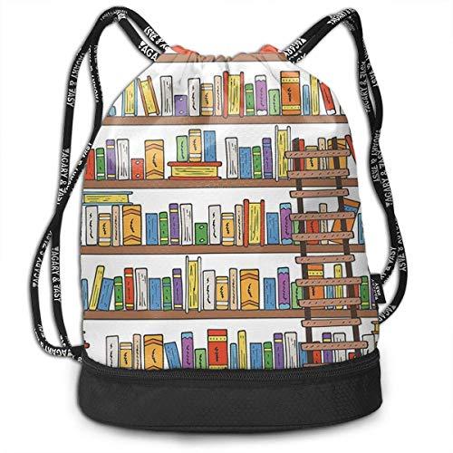 Petrichor Yi Sport Unisex Bundle Trekkoord Rugzak Modern Library Boekenkast met één ladder Travel Gym Sack multifunctionele dagrugzak